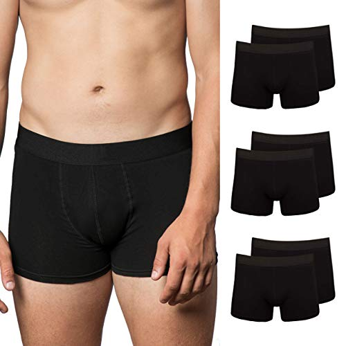 Snocks Boxershorts Herren ohne Logo (6X) Unterhosen Männer (6X Schwarz, X-Large)