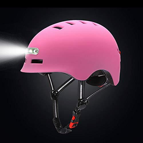 Casco De Bicicleta con Faro LED Integrado Y Casco De Ciclismo Ligero...