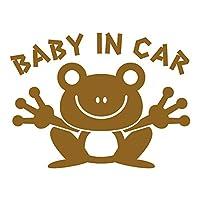 imoninn BABY in car ステッカー 【シンプル版】 No.22 カエルさん (ゴールドメタリック)