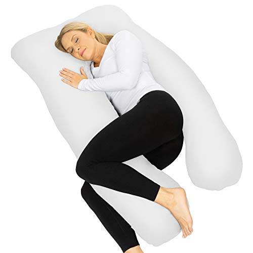 Xtra-Comfort U Shaped Body Pillow - Full Maternity Side Sleeper Cushion for Baby, Women, Men, Kids - Extra Firm Pregnancy Support for Soft Snuggle, Whole Back, Arm, Neck, Leg, Knee - Queen Cover Case