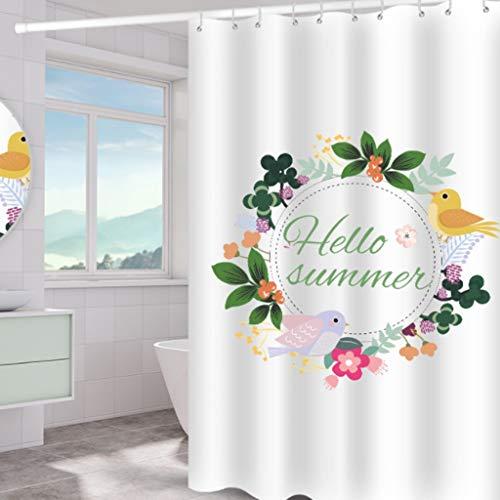 FXnn Gedruckte Duschvorhang, Girlande Vogelmuster, Bad Partition Vorhang, Schimmel & Wasserdichten Polyestergewebe Duschvorhang (Größe : 240 * 200cm)