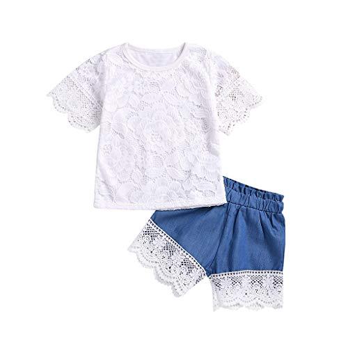 Voberry- Costume Enfant Haut à Fleurs en Dentelle à Manches Courtes + Short (1-4T)