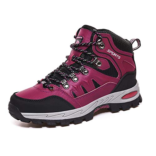 Ulogu Wanderschuhe Herren Trekkingschuhe Damen rutschfest Outdoor Schuhe Wanderstiefel Gr. 36-46,Rose Red,40