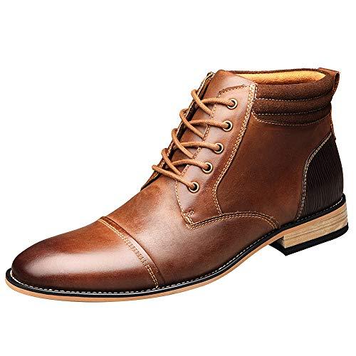 ANUFER Hombres Vintage con Cordones Cuero Botines Cremallera Formal Zapatos de Vestir Marrón SN01825 EU41.5