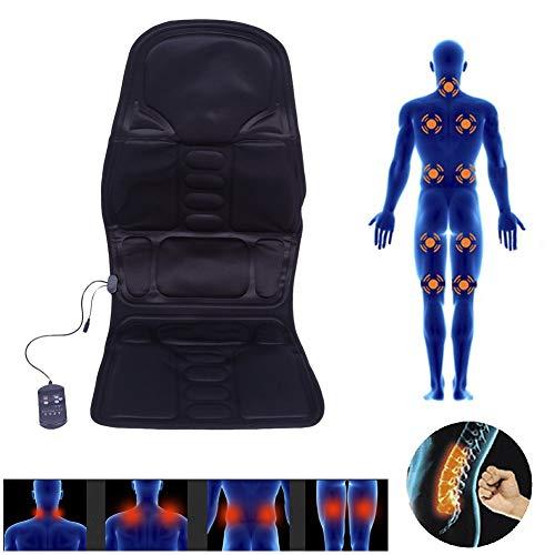 Shiatsu Massage-zitkussen met 5 massagezonnen, massagemat, voor thuis, kantoor, auto, elektrische warmtetherapie, vibratiemassagepad met afstandsbediening (EU)
