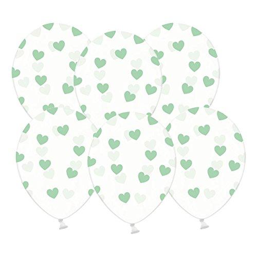 Kleenes Traumhandel 6 kristallklare Luftballons mit Mint Herzen - Ideale transparente Ballondeko