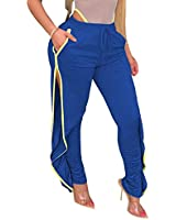 Women's Drawstring High Waist Sweatpants, Casual Side Split Ruffle Jogger Pants Loose Long Workout Pant (Blue, XL)