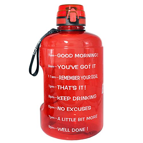 BuildLife Gallon Motivational Water Bottle Wide Mouth with Time Marker/Flip Top Leakproof Lid/One Click Open/Large BPA Free Capacity for Fitness Goals and Outdoor(Red, 1 Gallon)