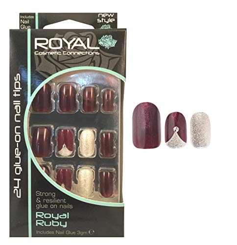 Royal Ruby Kit 24 Faux Ongles & Colle Prune/Rubis - Paillettes Argentées - 2 Avec Strass
