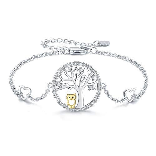 Baum des Lebens Eule Armband 925 Sterling Silber Cut Eule verstellbare Armreif Schmuck für Frauen Mama Mädchen mit Geschenkbox(Eule Armband)