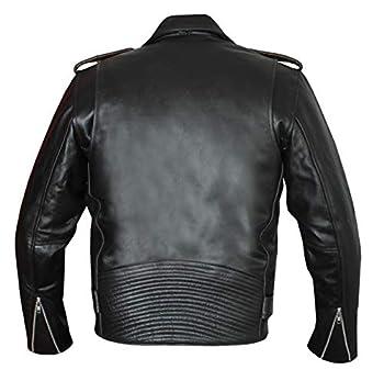 Jet Blouson Veste Moto Cuir Homme Vintage avec Protection Homologué Classique Rétro Biker Iconique BRANDO (Noir uni, XL)