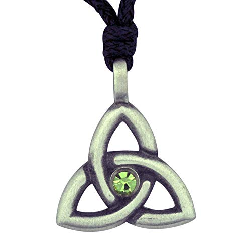 VILLAGE GIFT IMPORTERS Celtic Knot Birthstone Necklace | Crystal Centerpiece | 12 Colors | Irish Jewelry (August - Light Green Peridot)