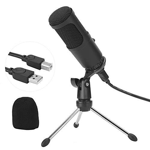 Micrófono USB, micrófono de grabación de condensador de diafragma grande para grabación de voz en estudio, transmisión en vivo, transmisión en vivo, micrófono de estudio de grabación en...