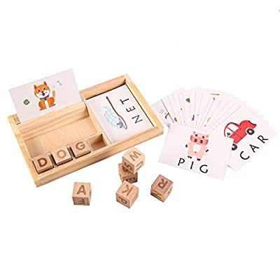 Joqutoys Matching Letter Game for Toddlers, Wooden Letter Spelling and Reading Games for Kids, Montessori Educational Word Spell Learning Toys for Boys Girls Gifts (30pcs Flashcards)