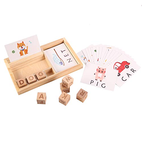 Joqutoys Wooden Spelling Games for Kids, Matching Letter Game for Preschool , Kindergarten Word Spell Learning Toy with 30pcs Cards Educational Toys for Boys Girls