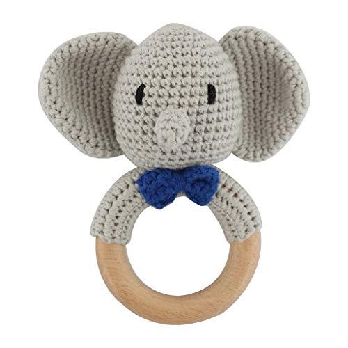 Bébé en bois Teeer Anneau bricolage Crochet éléphant Rattle Sucette Bracelet bébé Teeing Molar Jouets