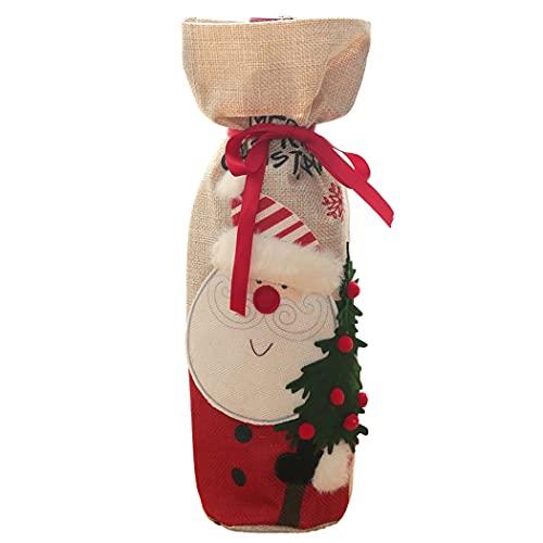 Bageek Bolsa De Almacenamiento Favor De Fiesta Cubierta De La Botella De Navidad Lino Festivo Lavable Reutilizable Divertido Protector Decorativo Botella De Vino Ropa Cubierta De La Botella De Vino