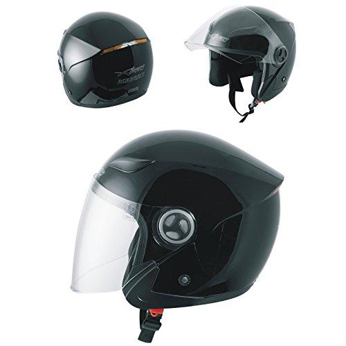 Motorradhelm Motorrad Roller Jet Langes Visier Helm ECE 22 05 Schwarz XL
