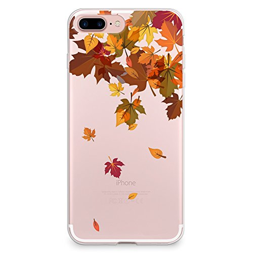 CasesByLorraine Compatible with iPhone 8 Plus/iPhone 7 Plus Case, Autumn Leaves Pattern Clear Transparent Flexible TPU Soft Gel Protective Cover for iPhone 7/8 Plus 5.5'