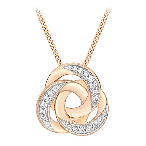 Carissima Gold Women's 9 ct Rose Gold Cubic Zirconia Russian Band Pendant Necklace of Length 45.72cm