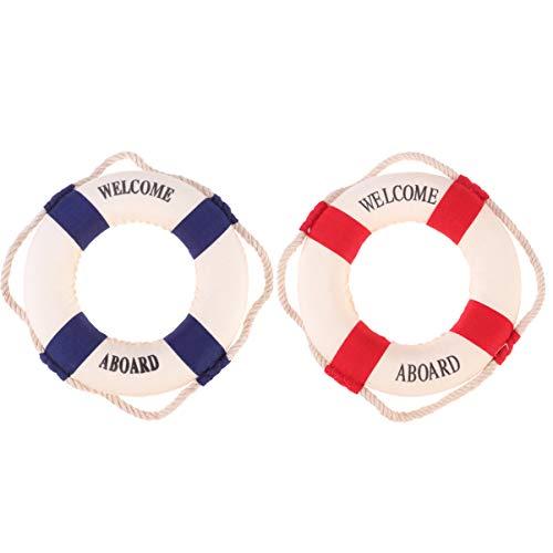 Amosfun Rettungsring Welcome Hängeschild Dekorative Türschild Nautische Maritime Deko für Wand Home Bar 2 Stück (Blau und Rot)
