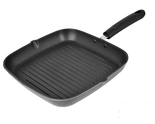 Tosaa - TSGP24 Square Non Stick Grill Pan, 24 cm, Red/Grey