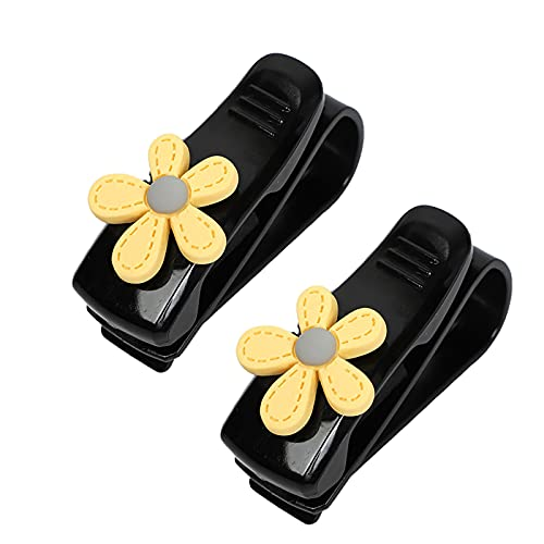 Xuptor 2 soportes para gafas de coche para sujetar gafas, tarjetas, entradas y clips universales para vehículos, color negro y amarillo