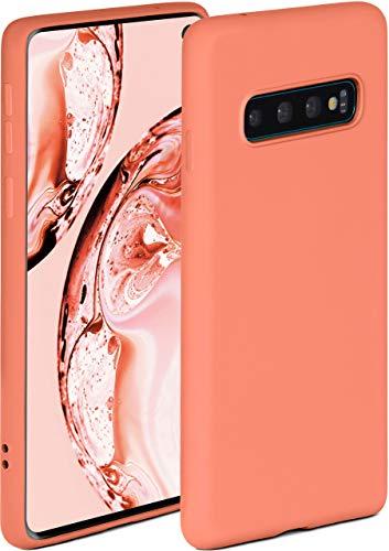 ONEFLOW Soft Hülle kompatibel mit Samsung Galaxy S10 Hülle aus Silikon, erhöhte Kante für Displayschutz, zweilagig, weiche Handyhülle - matt Koralle