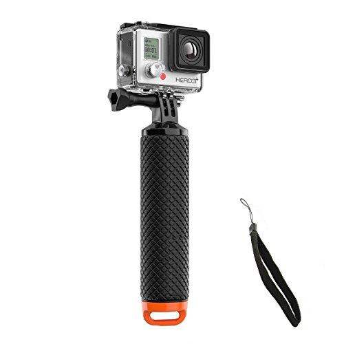 Welltop Selfie-Stangen, Wasserdichte GoPro schwimmende Hand Stativ Mount & schwimmende Griff mit Daumenschraube und einstellbare Handschlaufe für GoPro Hero 2/3/3+/4 Sport Action Camera Mount Zubehör (Orange)