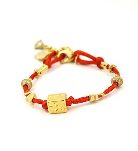 MIZZE Made for Luck Jewellery Cuatro nombres Cábala rojo pulsera de cuerdas para protección by MIZZE
