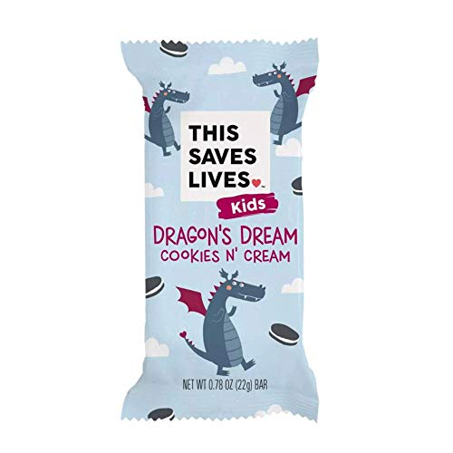 This Saves Lives Kids Rice Krispy Treats, Dragon Dream Cookies N' Cream 18 Pack, Gluten Free Snack Bars, Healthy Snacks for Kids, Individually Wrapped, Nut Free, Non GMO, Kosher, 0.78oz Bars
