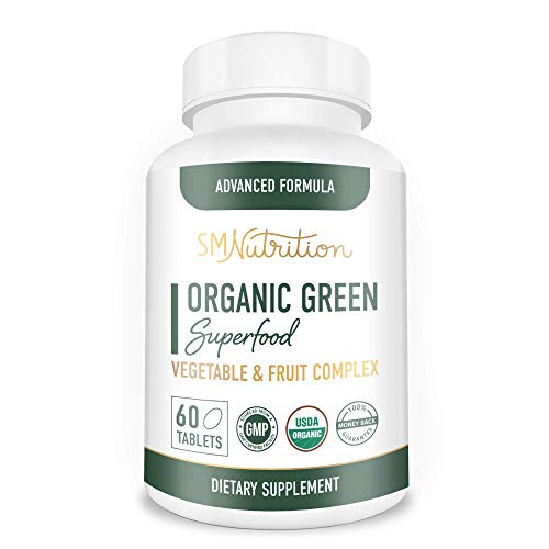 Green Superfood Supplement (60 Tablets) Super Greens Organic Whole Food Supplement - 28+ Fruit & Veggie Blend Including Alfalfa, Barley, Spinach, Broccoli - Certified Organic, Non-GMO and Gluten-Free