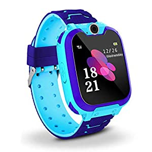 Niños Smart Watch Phone, La Musica Smartwatch para niños de 3-12 años Niñas con cámara Ranura para Tarjeta SIM Juego de Pantalla táctil Smartwatch Childrens Gift(Blue)