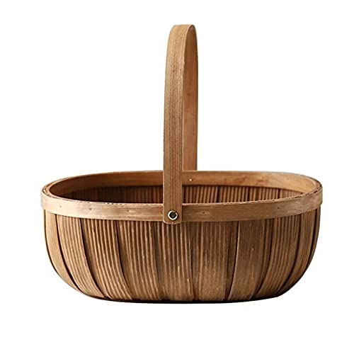picnic basket Cestas de almacenamiento de madera de madera de madera hecha a mano portátiles Hecho a mano Fruta y vegetal Cesta de contenedor de madera Cestas de regalo de madera con asa cesto mimbre