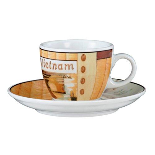 Seltmann Weiden 001.648105 VIP. Vietnam Espressotasse 0,09 L mit Untertasse, Creme/Braun/Orange
