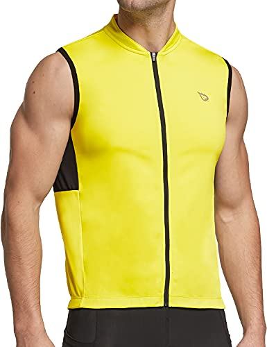 BALEAF Men's Sleeveless Cycling Jersey Road Bike Shirt Bicycle Full Zip Running Tank Tops Pocket SPF Yellow L
