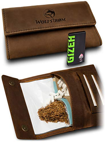 Tabaktasche \'Taruk\' – Premium Tabak-Beutel aus Leder – Dreher-Tasche mit Magnetverschluss, Filterfach und Double Blättchen-Halter – Swedish Brown