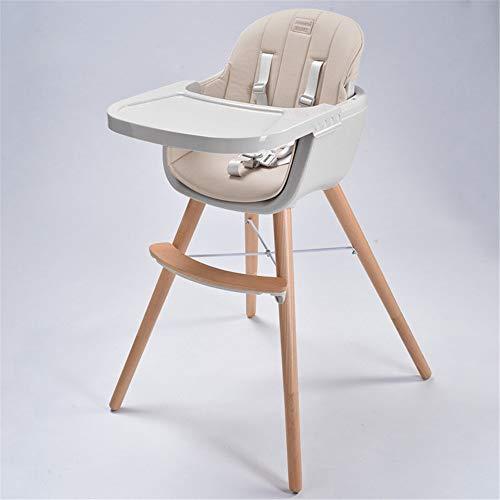 QiHaoHeji Kinderstoel Houten 3 In 1 Cabriolet Moderne High-footed Kussen Verstelbare Voeding Stoel Geschikt voor Peuters Baby Stoel (Kleur : Champagne)