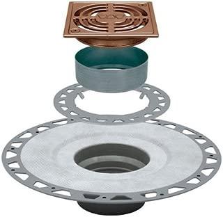 Kerdi Drain Kit with 4 in. Brushed Copper Bronze Anodized Aluminum Grate