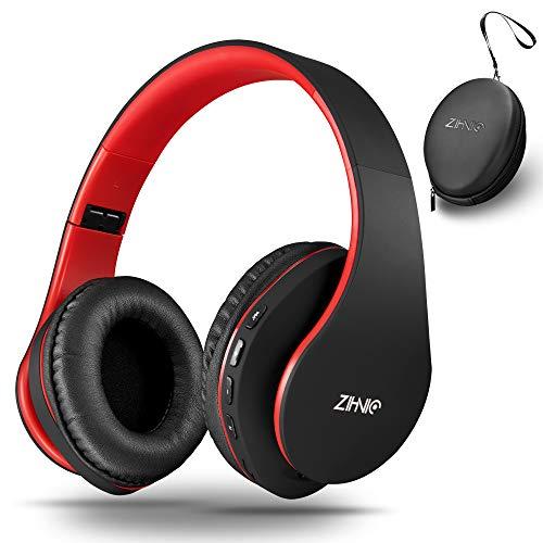 Bluetooth Over Ear Kopfhörer, Zihnic Wireless Faltbares Stereo Headset, Kabelloser Schalldämmung Kopfhörer mit Eingebautem MikrofonMicro SD/TF FM, Headphones für Phones/Samsung/Pads/PC-Schwarz/Rot …