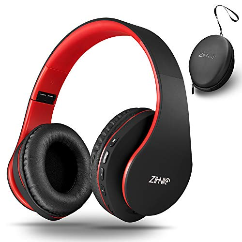 zihnic Auriculares Bluetooth Inalambricos, Cableados con Micrófono Plegables Estéreo Cascos Inalambricos Bajos Profundos para TV/PC/Teléfonos Celulares, Diadema con Orejeras Confortables-Negro/Rojo …
