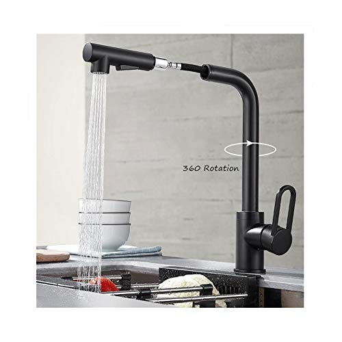 Grifo de cocina negro, diseño moderno comercial 2 modos latón negro mate grifo con rociador/grifos de cocina de acero inoxidable