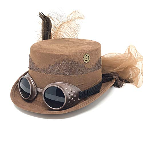Storm buy ] Steampunk Style Women Lady Girl Rhinestone Top Hat Scientist Time Traveler Feather Halloween Costume Cosplay Party with Goggles (Brown)