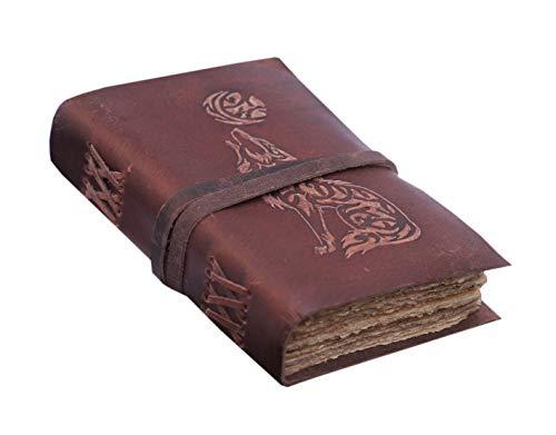 Vintage Büffelleder-Tagebuch, gebundenes Tagebuch, Skizzenbuch, handgefertigt, antikes Papier, 120 Seiten, Tagebuch, blanko, Notizbuch, Büffelleder, Skizzenbuch, 17,8 x 12,7 cm