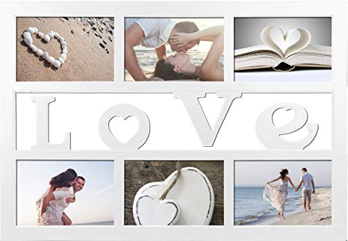 WPM Marco de fotos Collage Love, Home, Friends para 6/8 fotos de 10 x 15 cm (6 fotos, amor)
