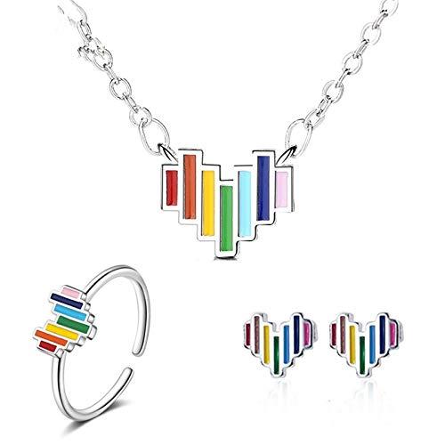 SFQRYP 925 Sterling Silver Evite los Conjuntos de Joyas de alergia para Las Mujeres Creative Colorido Arco Iris Collar de Arco Iris Anillo Regalos de Fiesta (Size : One Size)