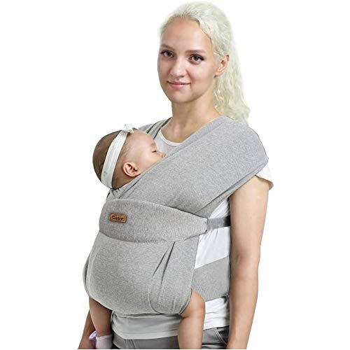 Baby Wrap Cuby Carrier Sling Soft Baby Carrier Sling para bebé con manos libres para bebés – Regalo para baby shower, talla única (gris perla)