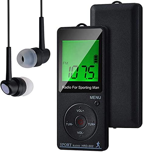 Radio portátil FM de Bolsillo con, Radio de Bolsillo Digital Recargables USB Radios con Auriculares, Podómetro, Temporizador de sueño y Reloj, Auto-búsqueda y Memorización, para Caminar, Trotar