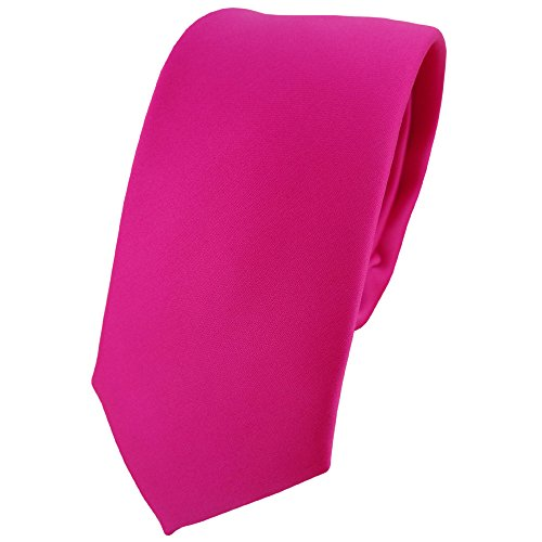 TigerTie schmale Designer Krawatte in pink rosa einfarbig Uni - Binder Tie