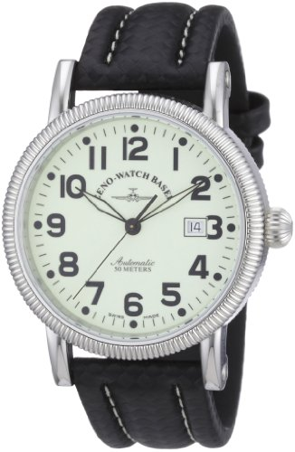 Zeno Watch Basel 98079-s9 - Reloj analógico automático para hombre con correa de piel, color negro